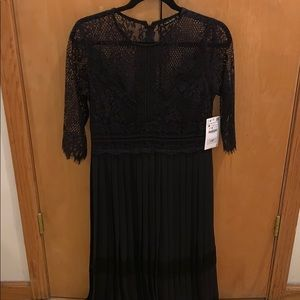 Zara Black Lace Pleated Dress